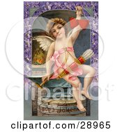 Clipart Picture Of A Vintage Valentine Of Cupid Forging Two Valentine Hearts Sitting On An Anvil With Arrows Hanging From His Chest Circa 1911