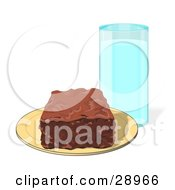 Chocolate Brownie Square On A Yellow Plate With A Tall Glass Of Milk