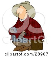 Clipart Illustration Of A Sleepy Cowboy In Plaid Sitting On A Stump And Holding A Cup Of Coffee by Dennis Cox