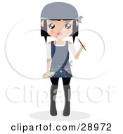 Clipart Illustration Of A Black Haired Woman Wearing An Apron With Paint On It Holding A Paintbrush And A Palette by Melisende Vector