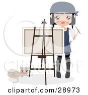 Cat Resting By A Female Artist Holding A Paintbrush And Looking Over A Canvas On An Easel