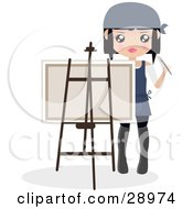 Female Artist Holding A Paintbrush And Looking Around A Canvas On An Easel
