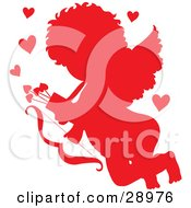 Clipart Illustration Of Cupid Silhouetted In Red Surrounded By Hearts And Carrying A Bow And Arrows