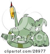Clipart Illustration Of A Group Of Dog Like Snake Like And Bird Like Green Dinosaurs by Dennis Cox