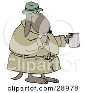Poor Homeless Dog In A Trench Coat And Hat Standing And Holding A Cup Asking For Spare Change