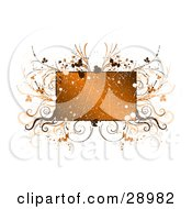 Clipart Illustration Of A Scratched Grunge Orange Text Box Bordered By Paint Splatters And Brown And Orange Flourishes And Plants On A White Background
