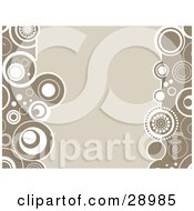 Clipart Illustration Of A Beige Background Bordered By Retro Circles Of Brown And White On The Sides