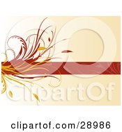 Red Text Bar With Faded Leaf Designs And A Flourish Along The Left Side Over A Gradient Beige Background