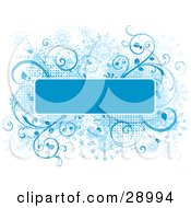 Clipart Illustration Of A Blue Text Box Bordered In White Trim Over A Grunge Snowflake Background Of Blue Flourishes And Dots On White
