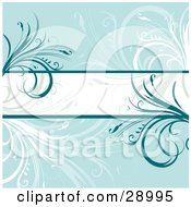 Clipart Illustration Of A White Text Bar Bordered By Dark Blue Lines And Flourishes Over A Blue Background With White And Faded Plants