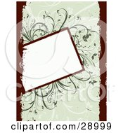 Clipart Illustration Of A Slanted Blank White Text Box Over A Green Background Of Vines With Dark Red Grunge Borders On The Left And Right Sides