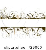 Blank White Text Bar Framed With Brown Grunge Splatters And Plants Over White