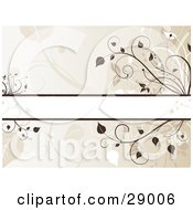 Clipart Illustration Of A Blank Text Bar Over A Background Of Brown Flourishes And Faded Silhouetted Plants