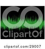 Clipart Illustration Of Green Sound Waves Spanning Across A Black Background