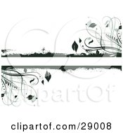 Clipart Illustration Of Dark Green Grunge And Leafy Plants Bordering A Text Bar On A White Background