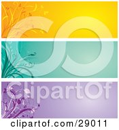 Clipart Illustration Of A Set Of Three Orange Green And Purple Website Banner Header Panels With Flourishes