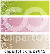 Clipart Illustration Of A Set Of Three Green Pink And Brown Web Site Banner Header Panels With Flowers And Pant Flourishes by KJ Pargeter
