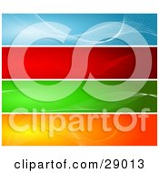 Set Of Four Blue Red Green And Orange Website Banner Or Header Panels With Waves