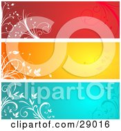 Clipart Illustration Of A Set Of Three Red Orange And Blue Website Banner Header Panels With White Silhouetted Flourishes by KJ Pargeter