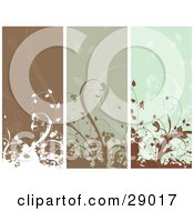 Clipart Illustration Of A Set Of Three Brown And Green Vertical Website Banner Panels With Flourishes