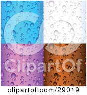 Clipart Illustration Of A Set Of Blue White Purple And Brown Backgrounds Of Water Droplets On Surfaces