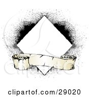 Clipart Illustration Of A Worn Blank Scroll In Front Of A White Diamond On A White Background With Black Grunge Spray by KJ Pargeter
