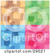 Clipart Illustration Of A Set Of Brown Green Blue And Pink Backgrounds With Abstract Square Patterns