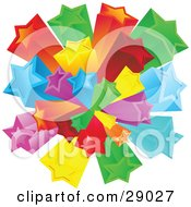Clipart Illustration Of A Burst Of Rainbow Colored Red Green Yellow Orange Blue And Purple Stars Over A White Background