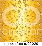 Clipart Illustration Of A Background Of Wet Droplets On A Glass Of Cold Yellow Beer