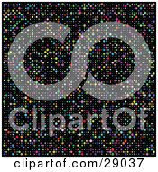 Clipart Illustration Of A Retro Colorful Disco Dotted Background On Black
