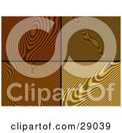 Clipart Illustration Of A Set Of Four Dark Medium And Light Toned Wood Grain Backgrounds by KJ Pargeter