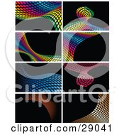 Clipart Illustration Of A Set Of Rainbow Colored Blue Pink And Orange Waves Made Of Squares On Black Backgrounds