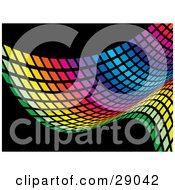 Clipart Illustration Of A Colorful Rainbow Wave Of Green Yellow Orange Pink Purple Red And Blue Squares On A Black Background