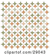Clipart Illustration Of A Retro Background Of Orange And Green Diamond Patterned Wallpaper
