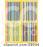 Clipart Illustration Of A Set Of Four Colorful Striped Backgrounds Of Pinks Blues Yellows And Reds by KJ Pargeter