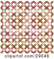 Clipart Illustration Of A Retro Background Of Brown White And Pink Floral Patterned Wallpaper