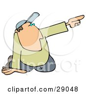 Clipart Illustration Of A White Man In A Hat Kneeling On The Ground And Pointing To The Right While Giving Someone Directions