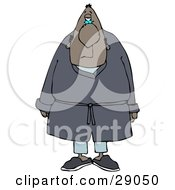 Clipart Illustration Of A Tired Black Man In Blue Pajamas Slippers And A Robe Standing And Facing Front