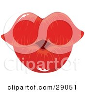Pair Of Sexy Red Female Lips Puckered For A Kiss
