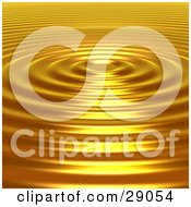 Clipart Illustration Of Bright Light Reflecting Off Of The Surface Of Golden Concentric Ripples
