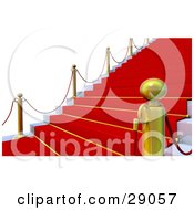 Clipart Illustration Of An Angled View Of Golden Posts Along A Red Carpet Leading Up Steps