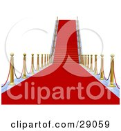 Clipart Illustration Of A View Down A Path Of Red Carpet Leading To Stairs Bordered By Gold Posts Symbolizing Vip Treatment Success And Opportunity by Tonis Pan
