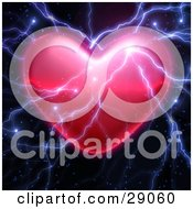 Clipart Illustration Of Bolts Of Bright Lightning Striking A Valentine Heart