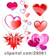 Clipart Illustration Of A Set Of Pink Red And Purple Valentine Heart Designs On A White Background For Optimal Results Purchase The Vector File
