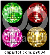 Clipart Illustration Of Four Green Red Pink And Yellow Square Patterned Disco Balls On Black