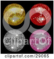 Four Gold Red Silver And Pink Circular Mosaic Tiled Disco Balls On Black