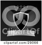 Clipart Illustration Of A Black Shield With Gray Wings A Crown And A Blank Scroll On A Black Background