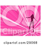 Clipart Illustration Of A Silhouetted Woman Dancing On A Bursting Pink Disco Background
