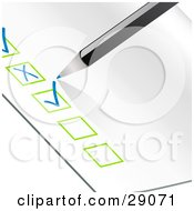 Clipart Illustration Of A Blue Pencil Checking Off Items On An Organized Check List With Green Boxes by elaineitalia #COLLC29071-0046