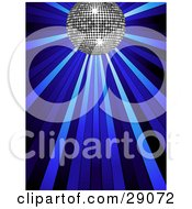 Clipart Illustration Of A Sparkly Silver Disco Ball Shining In Spotlights On A Blue Background